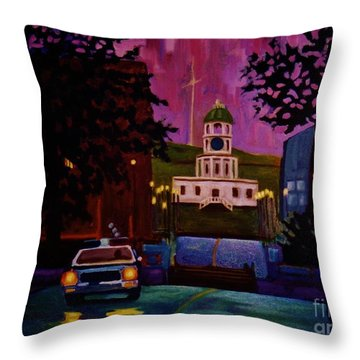 Halifax Night Patrol And Town Clock Throw Pillow by John Malone