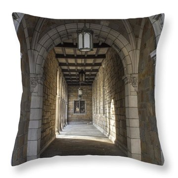 Hall At U Of M  Throw Pillow by John McGraw