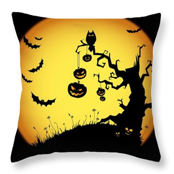 Halloween Haunted Tree Throw Pillow by Gianfranco Weiss