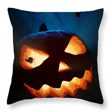 Halloween Pumpkin And Spiders Throw Pillow by Johan Swanepoel