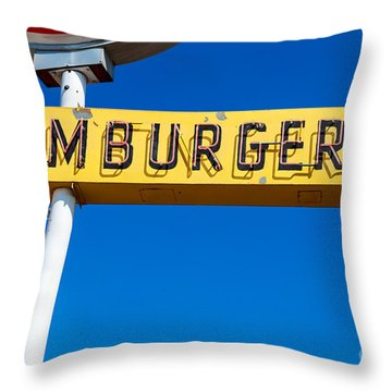 Hamburgers Old Neon Sign Throw Pillow by Edward Fielding