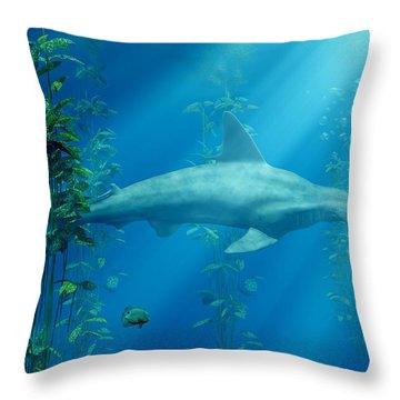 Hammerhead Among The Seaweed Throw Pillow by Daniel Eskridge