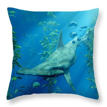 Hammerhead Art Throw Pillow by Daniel Eskridge
