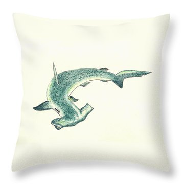 Hammerhead Shark Throw Pillow by Michael Vigliotti