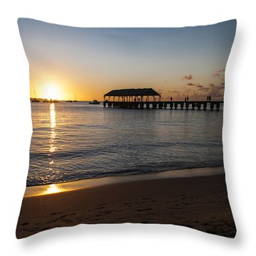 Hanalei Bay Sunset Throw Pillow by Brian Harig