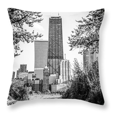 Hancock Building Through Trees Black And White Photo Throw Pillow by Paul Velgos