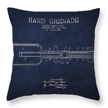 Hand Grenade Patent Drawing From 1916 Throw Pillow by Aged Pixel
