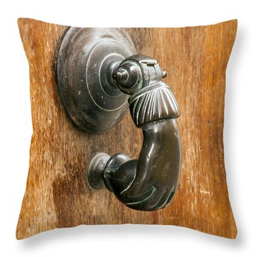 Hand Knocker Throw Pillow by Bob Phillips
