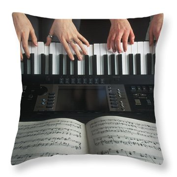 Hands On Keyboard Throw Pillow by Kelly Redinger