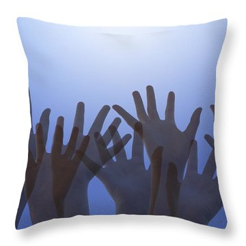 Hands Raised In Worship Throw Pillow by Colette Scharf