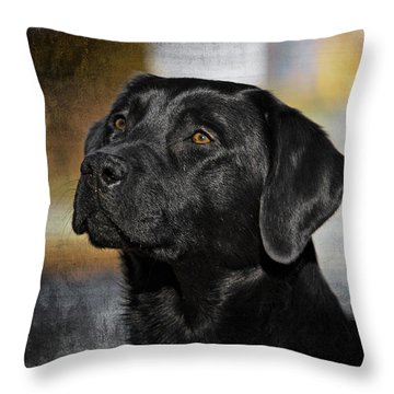 Handsome Black Lab Throw Pillow by Eleanor Abramson
