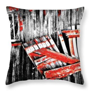 Hanging By A Few Nails Bw Throw Pillow by Julie Hamilton