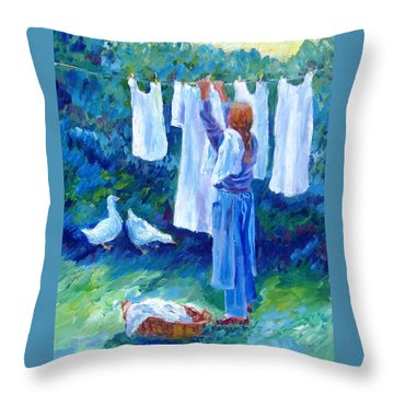 Hanging The Whites  Throw Pillow by Trudi Doyle