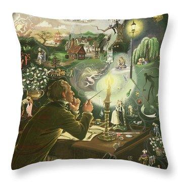 Hans Christian Andersen Throw Pillow by Anne Grahame Johnstone