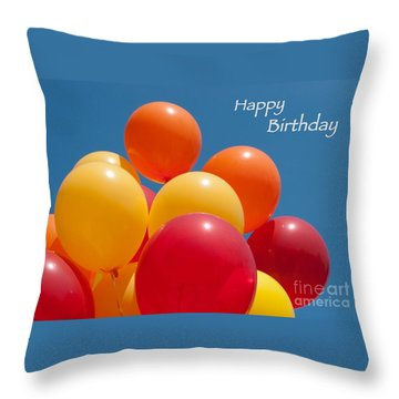 Happy Birthday Balloons Throw Pillow by Ann Horn
