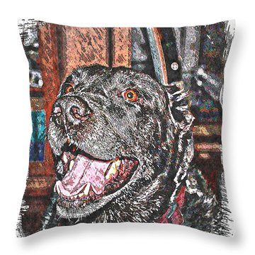Happy Black Lab  Throw Pillow by Barbara Griffin