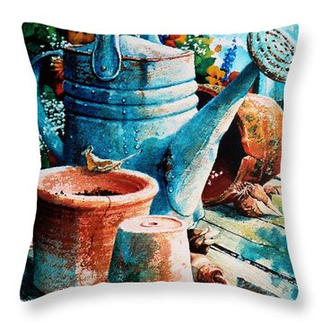 Happy Chores Throw Pillow by Hanne Lore Koehler