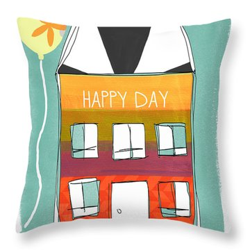 Happy Day Card Throw Pillow by Linda Woods