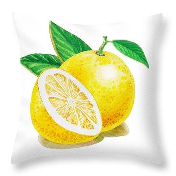 Happy Grapefruit- Irina Sztukowski Throw Pillow by Irina Sztukowski