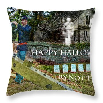 Happy Halloween-try Not To Scream Throw Pillow by EricaMaxine  Price