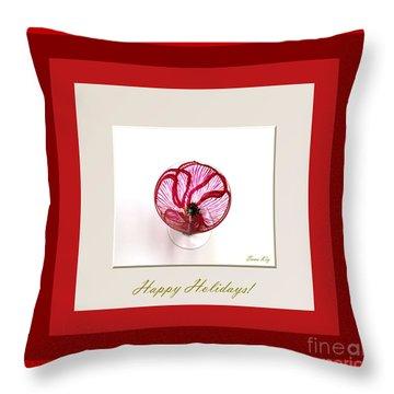 Happy Holidays. Red Poppy Throw Pillow by Oksana Semenchenko