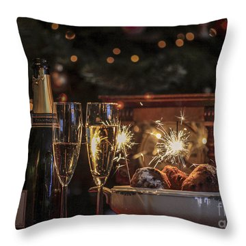 Happy New Year Throw Pillow by Patricia Hofmeester