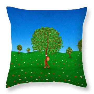 Happy Walking Tree Throw Pillow by Gianfranco Weiss