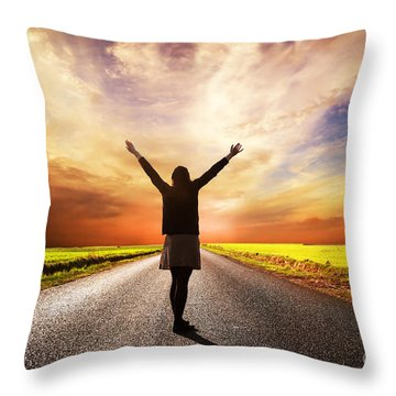 Happy Woman Standing On Long Road At Sunset Throw Pillow by Michal Bednarek