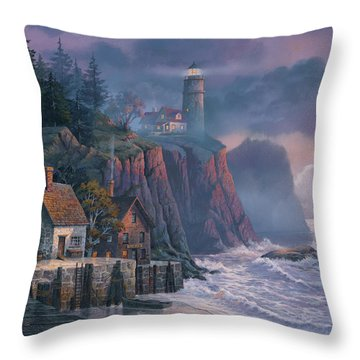 Harbor Light Hideaway Throw Pillow by Michael Humphries