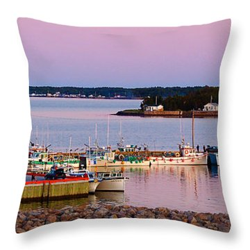 Harbour Sunset Throw Pillow by Ron Haist