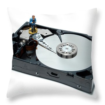 Hard Drive Backup Throw Pillow by Olivier Le Queinec