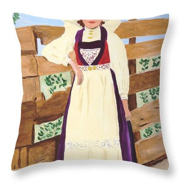 Throw Pillow featuring the painting Hardanger Girl by Rodney Campbell