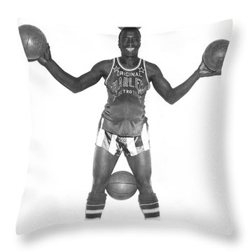 Harlem Globetrotters Player Throw Pillow by Underwood Archives