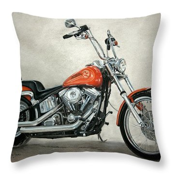 Harley Davidson Throw Pillow by Heather Gessell