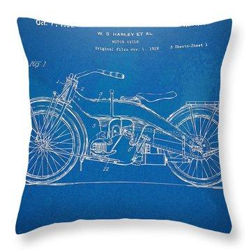 Harley-davidson Motorcycle 1924 Patent Artwork Throw Pillow by Nikki Marie Smith
