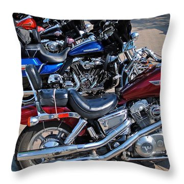 Harley Davidson Throw Pillow by Frozen in Time Fine Art Photography