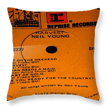 Harvest - Neil Young Side 1 Throw Pillow by Marcello Cicchini