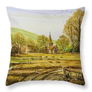 Harvesting Fields Throw Pillow by Andrew Read