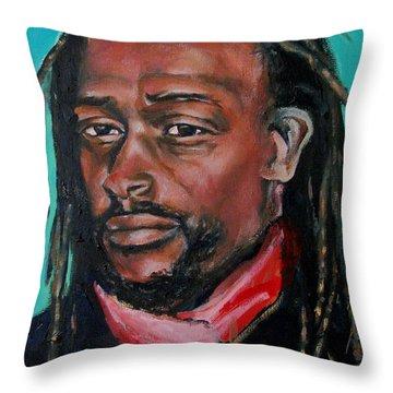 Hat Man - Portrait Throw Pillow by Grace Liberator