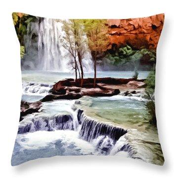 Havasau Falls Painting Throw Pillow by Bob and Nadine Johnston