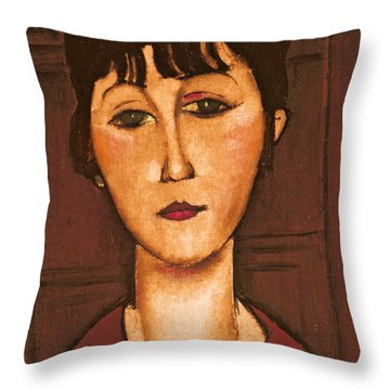 Head Of A Girl Throw Pillow by Amedeo Modigliani