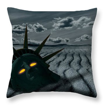 Head Of A Statue With A Broken Bridge Throw Pillow by Panoramic Images