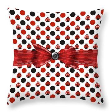 Healing Ladybugs Throw Pillow by Debra  Miller