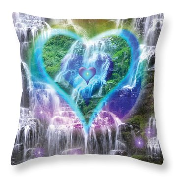 Heart Of Waterfalls Throw Pillow by Alixandra Mullins