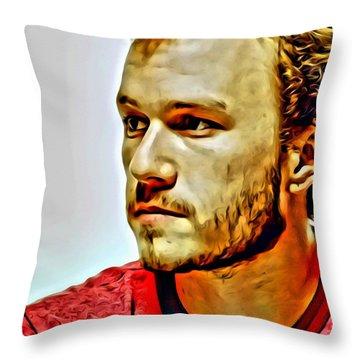 Heath Ledger Portrait Throw Pillow by Florian Rodarte