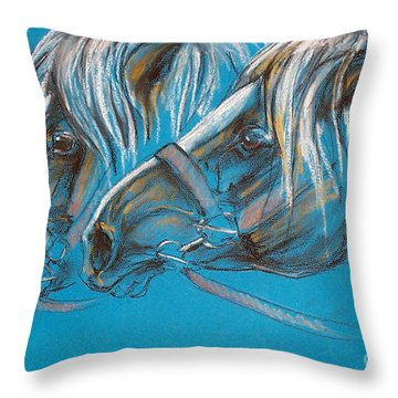 Heavy Horses Throw Pillow by Angel  Tarantella