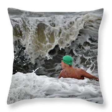 Heavy Surf - Lifeguard Competition Throw Pillow by Kim Bemis