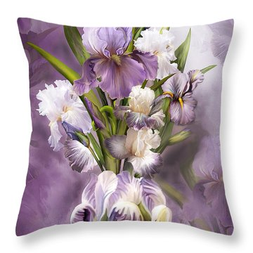 Heirloom Iris In Iris Vase Throw Pillow by Carol Cavalaris