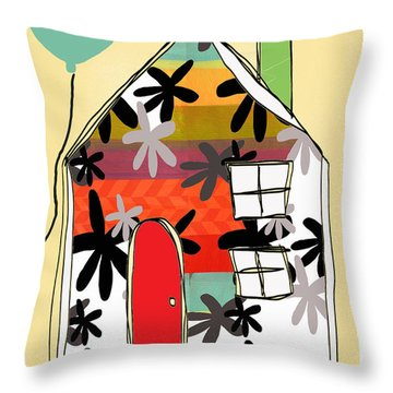 Hello Card Throw Pillow by Linda Woods