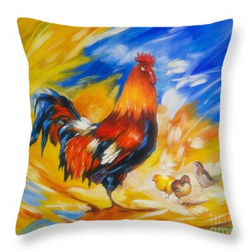 Henhouse Host Throw Pillow by Veikko Suikkanen